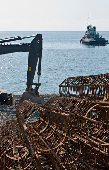 Берегоукрепительные работы при строительстве набережной