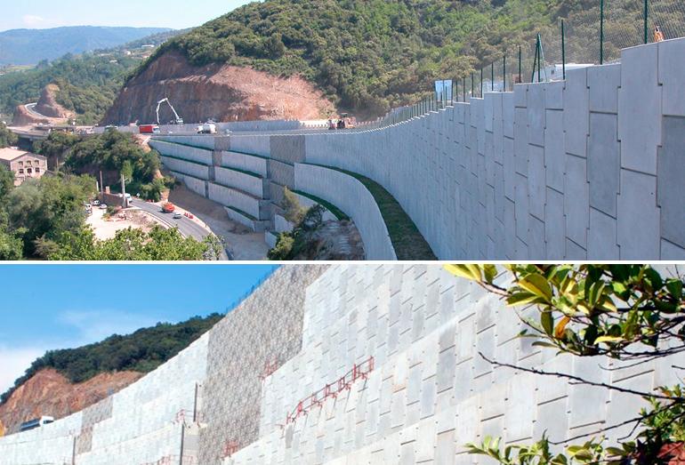 Дорога A75 – Лодев. Подпорные стены в районе скал Сумон, Франция