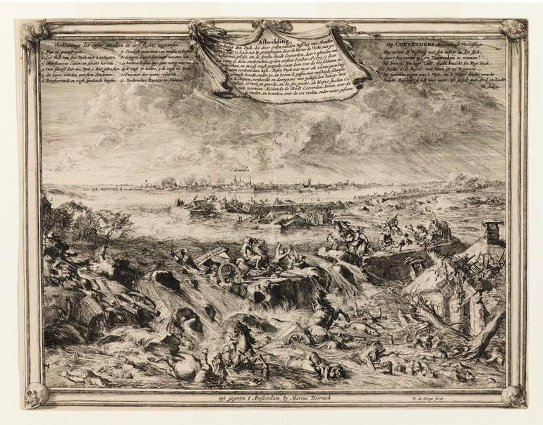Гравюра с изображением наводнения в Голландии