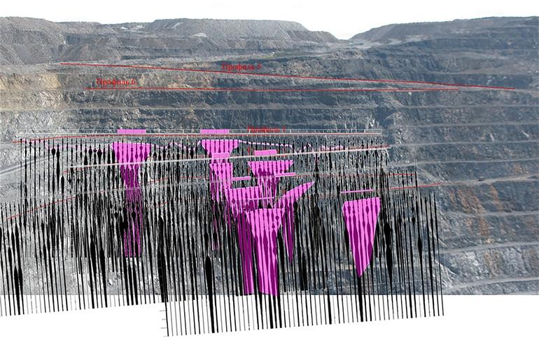 Проекция спектральных сейсморазрезов на борт карьера