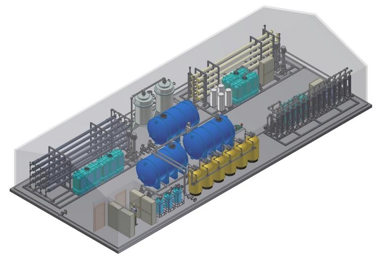 Общий вид комплекса очистки рудничных вод на базе баромембранной технологии