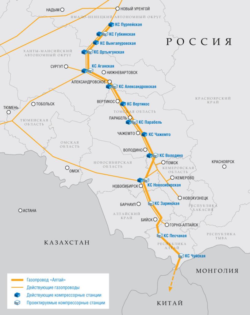 Карта Газопровода Алтай