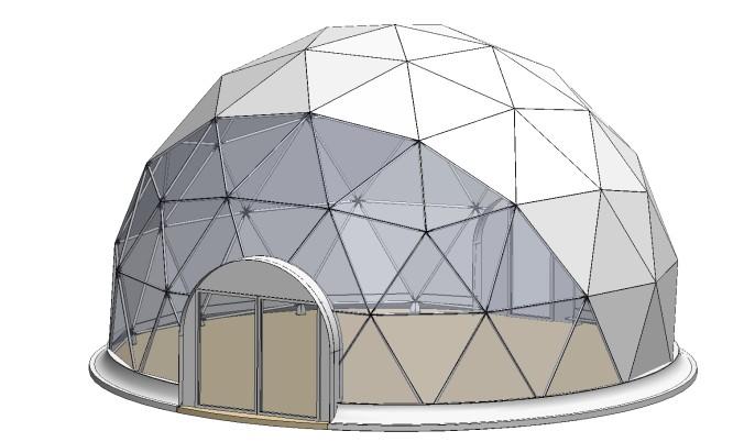 Визуализация геодезического купола диаметром 10 метров