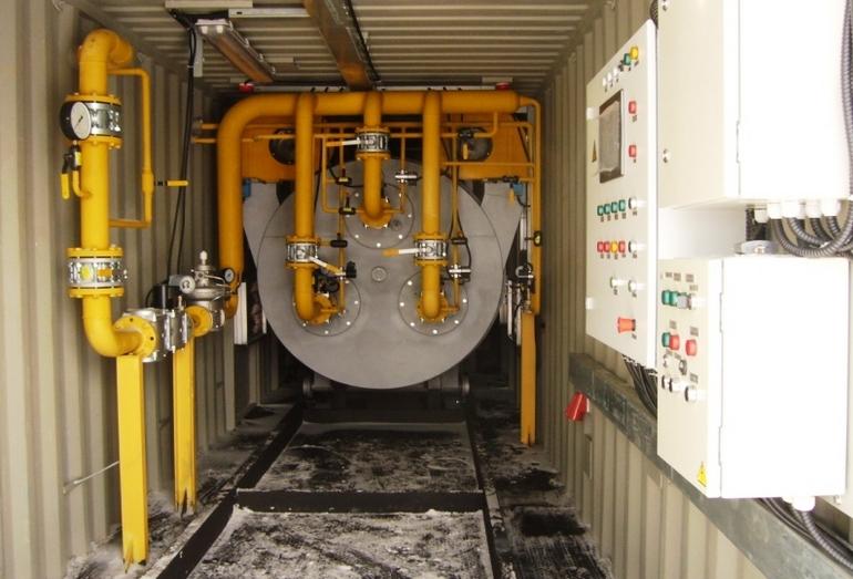 Внутреннее пространство инсинератора контейнерного типа ИН-50.6КЦ