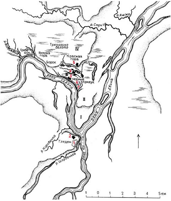 Карта первоначального освоения территории Великого Устюга