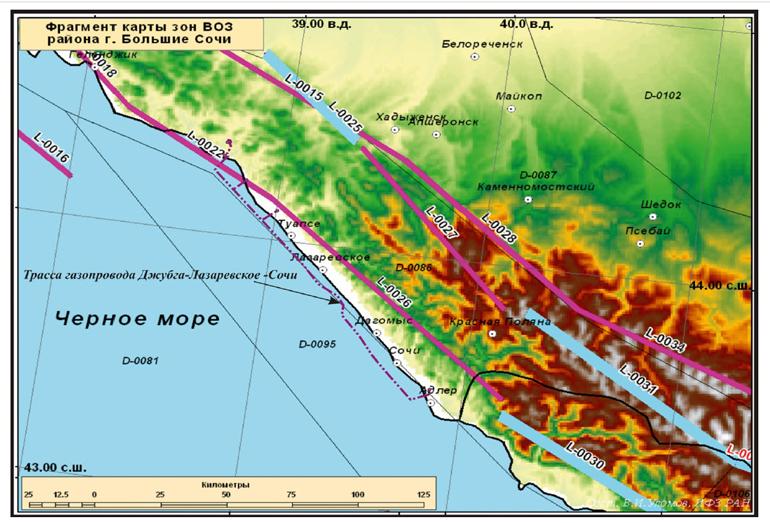 Линеаментно-доменно-фокальная (ЛФЗ) модель зон ВОЗ территории российского Причерноморья