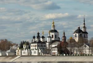 Панорама Соборного дворища в Великом Устюге