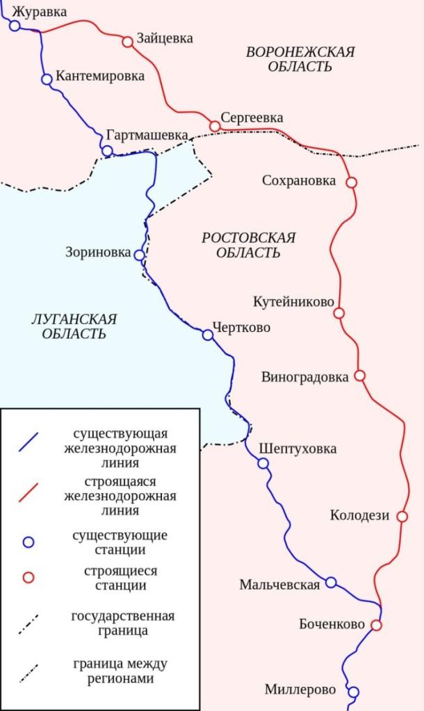 Схема I очереди железнодорожного обхода Украины