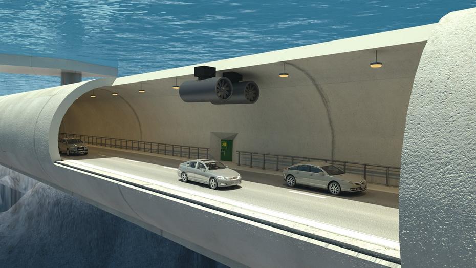 Вид подводного тоннеля в разрезе