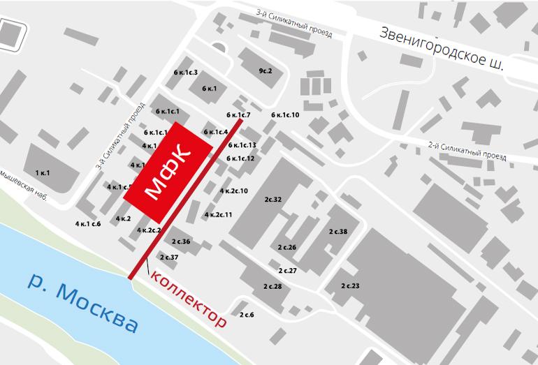 Расположение участка проектируемого здания МФК