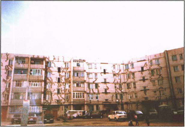 Разрушение здания с плитным типом фундамента (г. Невинномысск)