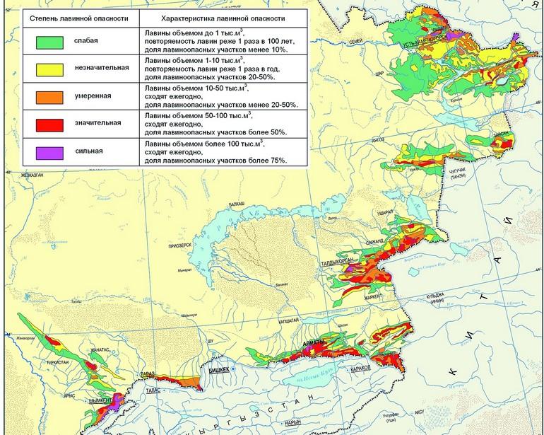 Карта лавиноопасных районов Казахстана [2]