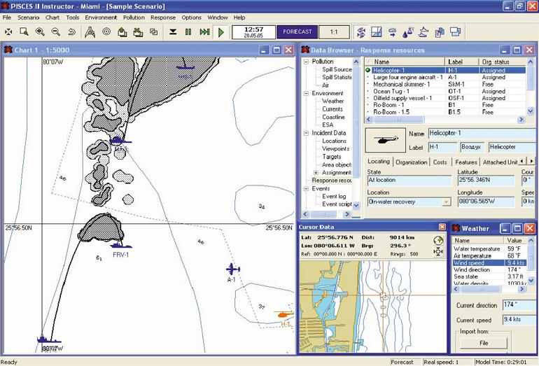 Пример сценария, заданного в РISCES II – системе компьютерного моделирования и поддержки принятия решений в ходе действий по ликвидации разлива нефти