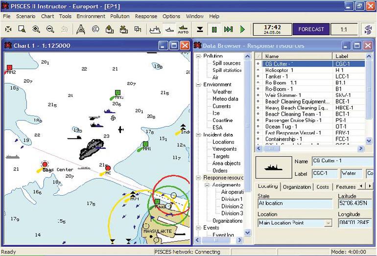 Система прогнозирует траекторию движения разлива, испарения, взаимодействия с берегом и т.д.