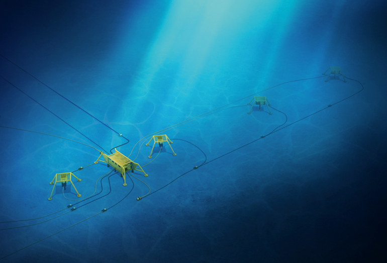 Подводный добывающий комплекс – манифольд, добычные скважины с подводным расположением устья с защитными конструкциями и трубопроводы