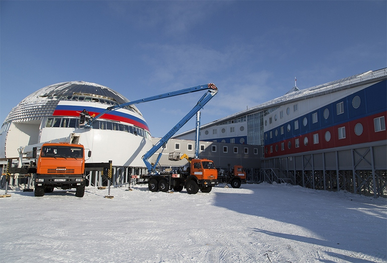 Стройка Российской военной базы в Арктике
