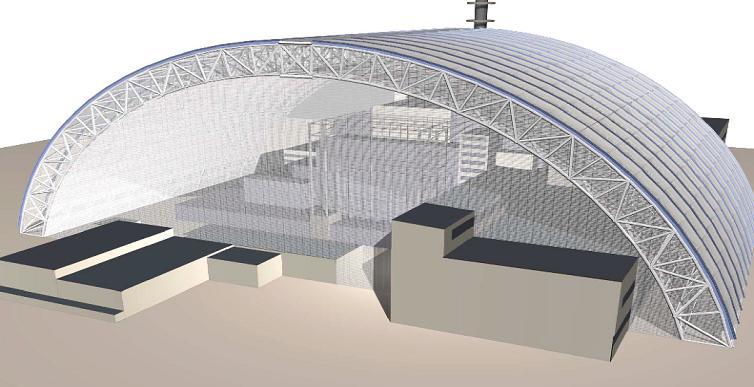 Схема установки НБК над четвертым блоком ЧАЭС